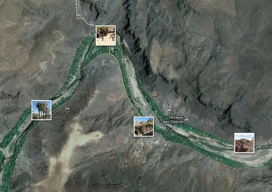Oasis de Fint - Situation de l'auberge La Terrasse des Délices -                              Cliquez pour voir l'itinéraire depuis Ouarzazate