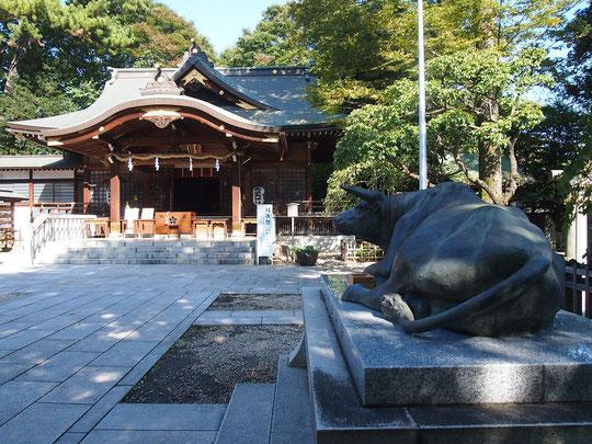 ラリーポイント N の布多天神社です。江戸時代(1706年)に再建されたという本殿と御神牛の像