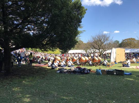 11月4日(2019)学園祭の舞台裏:秋の好天に恵まれた日、武蔵野地域のあちこちで学園祭が行われました。写真はICUで披露された素晴らしい和太鼓パフォーマンスの舞台裏です。