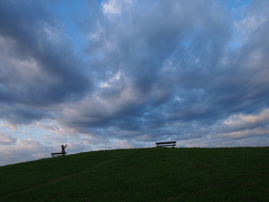 7月30日(2014) 雲を撮る人:7月28日に武蔵野の森公園、飛行場の見える丘にて