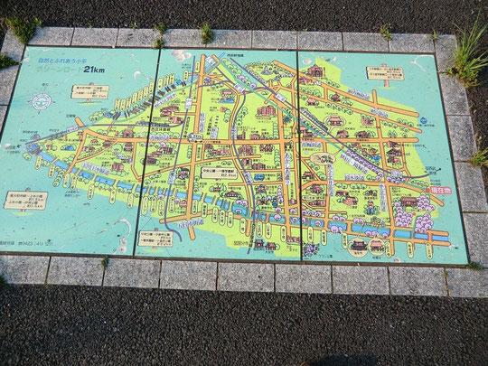 花小金井の駅の近くまでもどる。道にとてもわかりやすいマップが画かれていた。小金井公園が近いことを知り、自転車道を離れてそちらの方向へ