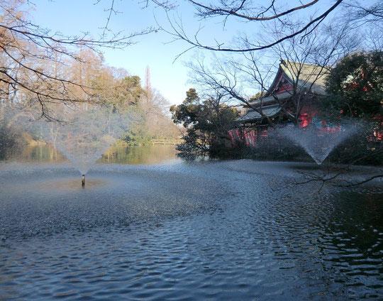 ●坂を下りて行くと池に噴水がありました。その向こうに弁財天があります