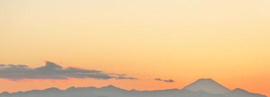 1月22日(2013)富士と丹沢山系のシルエット(1月19日に三鷹市の国分寺崖線上から撮影)
