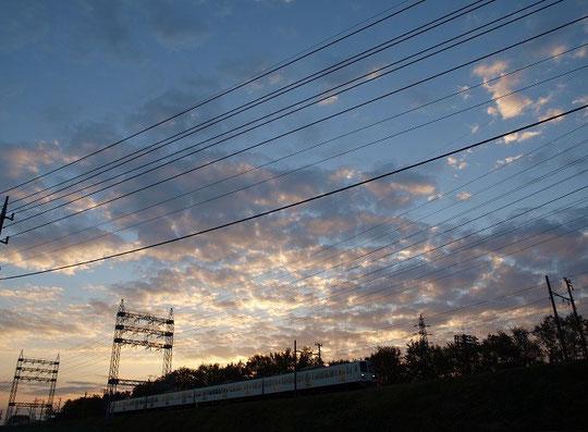 11月19日(2013) 夕焼け空と電車:西武多摩川線