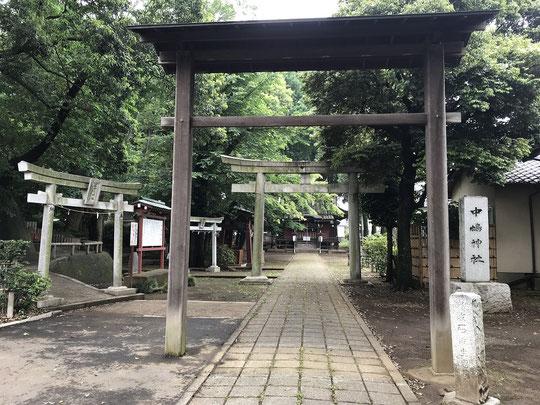 5月20日(2021)街なかの静寂:三鷹市の中原にある中嶋神社。近くに中央自動車道が通る場所ですが、鳥居の先は静寂の時が流れていました。奥にある社殿を守るようにシラカシの大木が林立しています。