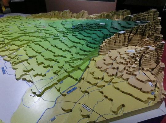 ●六都科学館で展示されていた武蔵野台地の模型。スタンプラリーで巡っている地域がどのような地形になっているのか、よく理解できました