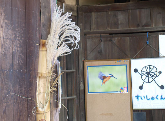 ラリーポイント J の大沢の里水車経営農家です。建物の入口にススキが飾られていました。そばにはカワセミの写真とすいしゃくんの旗も