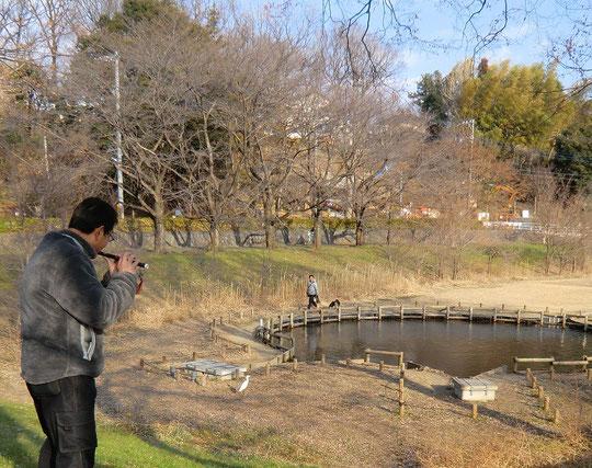 2月12日(2013) 笛を吹く人とコサギ(武蔵野公園で2月11日に撮影)