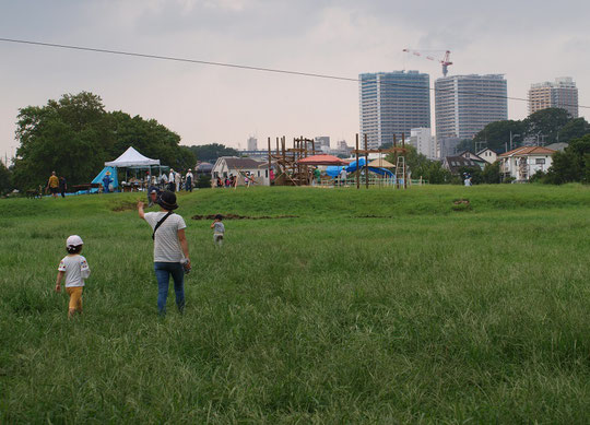 8月21日(2019)原っぱに出現したプレイランド:毎年夏休みに武蔵野公園のくじら山、原っぱ、野川周辺で開催される「わんぱく夏祭り」の会場です。ケガとゴミは自分持ちというコンセプトの冒険遊び場。大人と子供がいっしょに楽しく遊びます。今年は、8月17日から26日まで