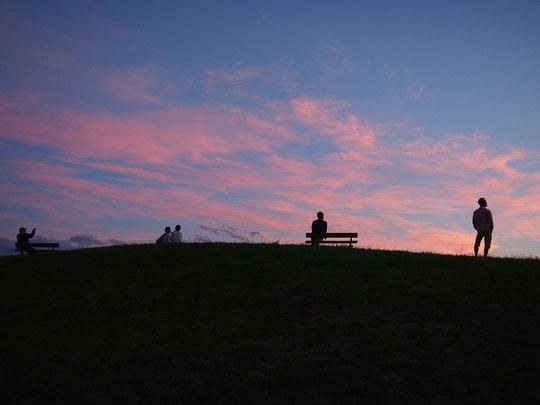 10月6日(2014) 台風が過ぎた日、夕映えの空を眺める人たち(武蔵野の森公園)