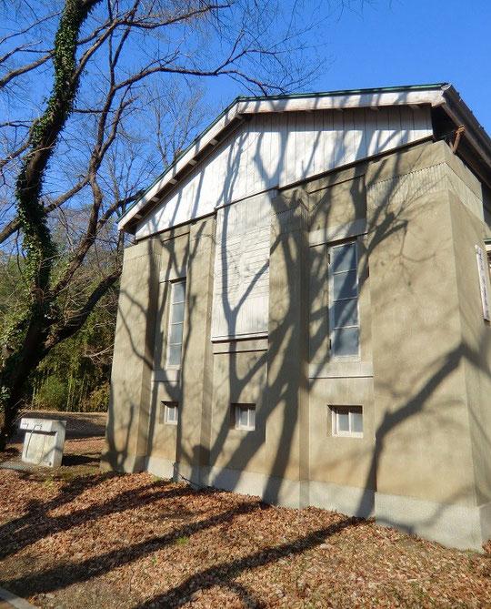 1月24日(2014) 木の影と古い建物:レプソルド子午儀室。惑星や主要な小惑星の赤経観測が行われていた建物(国立天文台)