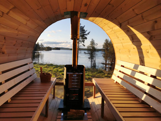 Sauna mit Seeblick, Sauna am See, Sauna in Lappland