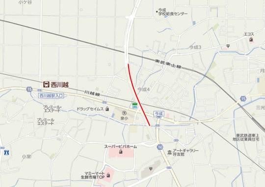川越市今成付近の地図