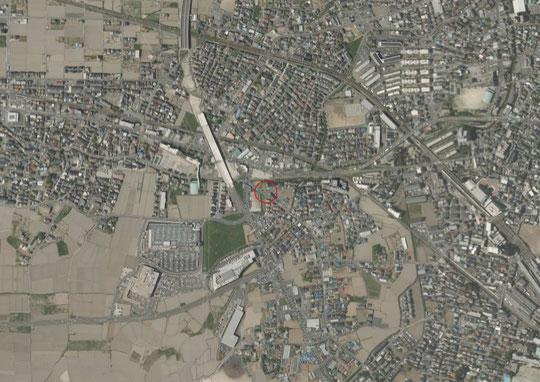 川越市小室付近の上空写真
