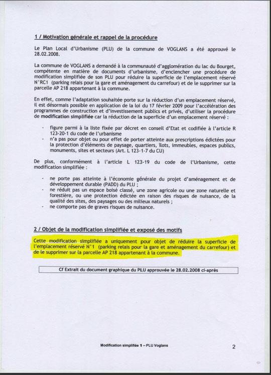MODIFICATION N°1 POUR LIBERER LA PARCELLE COMMUNALE DE 1831 m² DE LA SERVITUDE RC 1