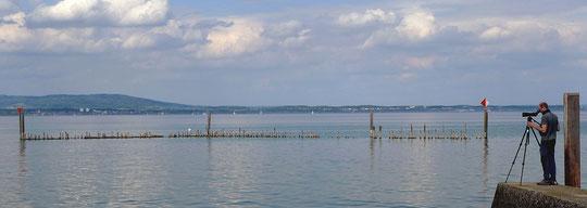 Ausschau nach Seetauchern in Kesswil TG (08.05.2010, Foto S. Trösch)