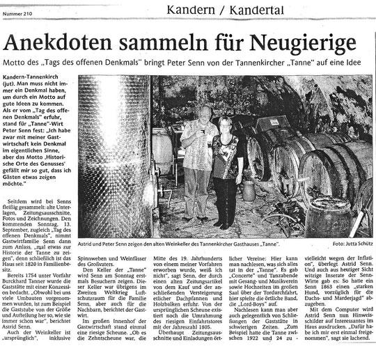 Tag des offenen Denkmals, Badische Zeitung 11.9.2009. KLICK zum Vergrössern!