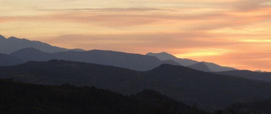 Coucher de soleil sur les Pyrénées ariégeoises