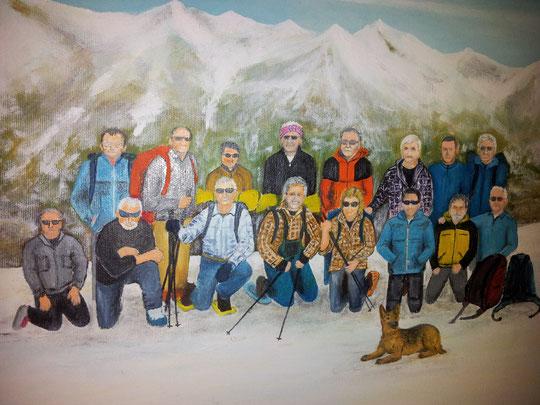 In piedi da sinistra: Gianni baffo, Armando, Bruno, Franco, Gianpaolo, Roberto, Roby, Gianni.    In ginocchio: Sandro, Giuseppe, Serafino, Gabrio, Flavia, Andrea, Vittorio, Pucci.