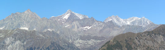 Da sinistra, Andolla, Weissmies, Lagginhorn e Fletschorn