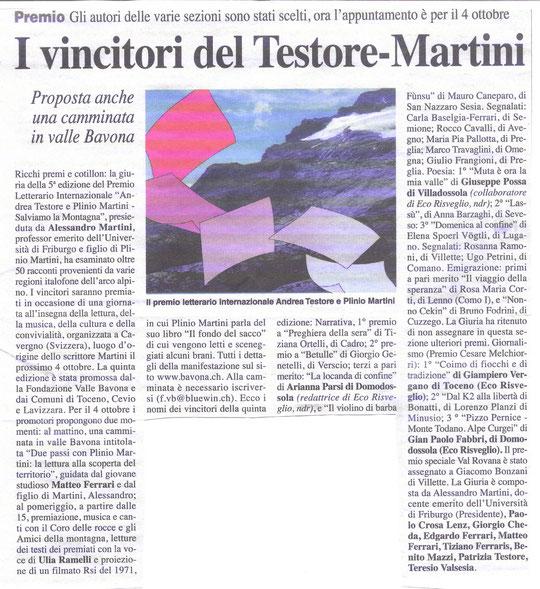 """L'articolo dei vincitori del premio Testore-Martini, dove Gianpaolo nella categoria """"giornalismo"""" si è classificato al terzo posto con l'articolo """"Pizzo Pernice-Monte Todano, Alpe Curgei"""" del 19/12/2013 gita n. 52"""