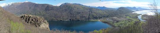 Il lago di Mergozzo, a destra in alto il lago maggiore