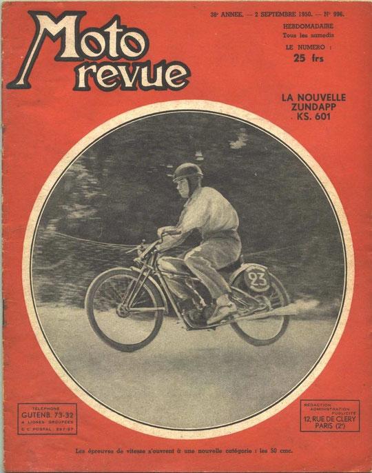 Moto Revue 02.09.1950. 2 pages. Essai de la KS601.