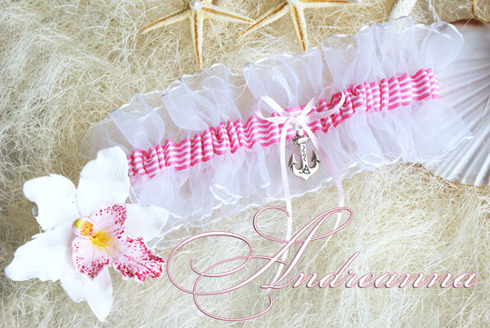 Свадебная подвязка «круиз» розовая с якоречком, стоимость 200грн 26$ (цветочек для волос 150грн)