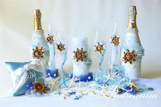 Свадебное шампанское Остров сокровищ, стоимость 650 грн (штурвал ручной работы, также возможно использование спасательного круга, якоря и др. элемент