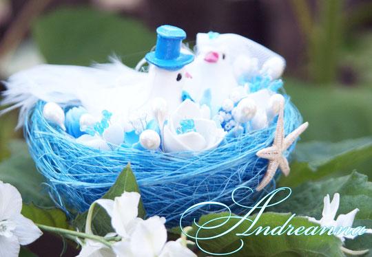 Гнездышко с птичками и цветами «Аквамарин» для подачи колечек. Стоимость 400грн