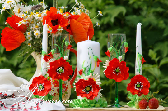 """Свадебные свечи """"Алый мак"""", полностью ручная работа (возможно выполнение любых желаемых цветов, в любом цвете) стоимость 650грн"""