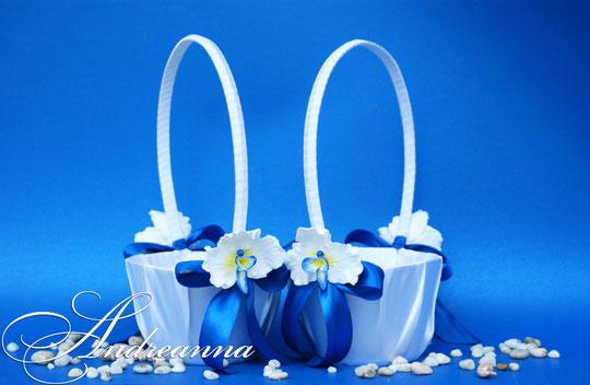 корзиночка «синяя орхидея» стоимость 350грн (цветы ручной работы)