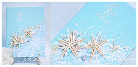 Папка для свидетельства «Сокровища морей», бирюза,  с инициалами (написание или кристаллы Swarovski ), выполнение в любом желаемом цвете. Стоимость 550грн