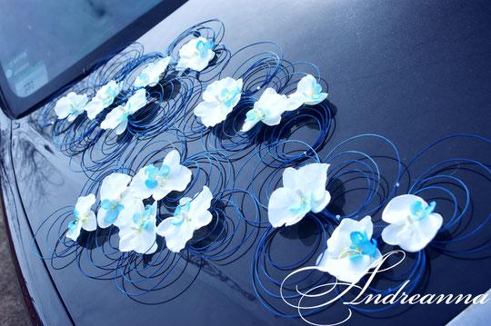 Украшение для авто «Кольца», с искусственной орхидеей (в желаемом цвете), стоимость 450грн
