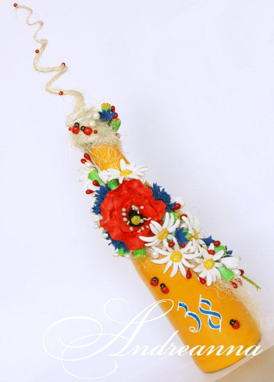 Шампанское «Полевой букет» все цветочки полностью ручной работы (лепка) ручная роспись, цветы с ароматом живых полевых цветов. Стоимость 700грн (выполняется в любом цвете).