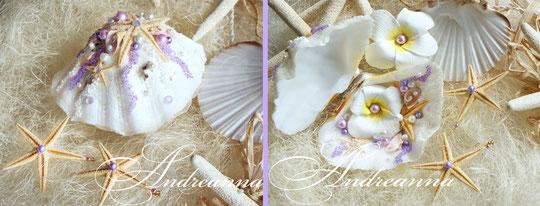 шкатулка-ракушка для колечек с плюмерией и лиловым вкраплением. Полностью ручная работа, натуральные раковины. Стоимость 800 грн