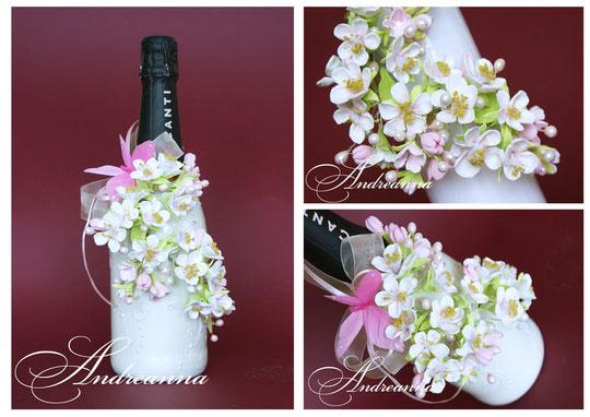Шампанское «Эдем», цветы ручной работы, каждый лепесток слеплен вручную, с любовью, с ручной росписью,  с нежным ароматом весеннего цветущего сада! Стоимость 750грн