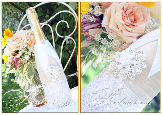 Шампанское  «Снежная королева» в персиково-перламутровых тонах. (выполнение в любом желаемом цвете) стоимость декора 600грн.