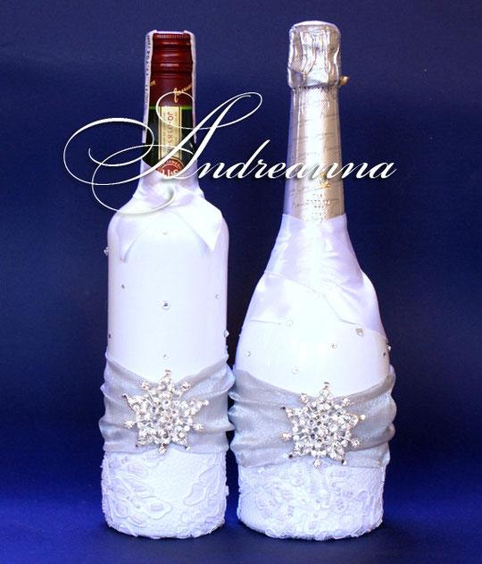 Свадебное шампанское «Снежная королева» стоимость декора 600грн (1бут).