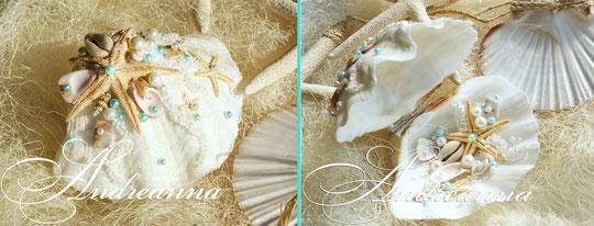 шкатулка-ракушка для колечек с голубым вкраплением. Полностью ручная работа, натуральные раковины. Стоимость 800 грн (Без цветка)