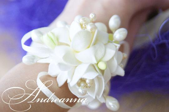 Браслет для невесты «Жемчужная фрезия и гардения» стоимость 150грн