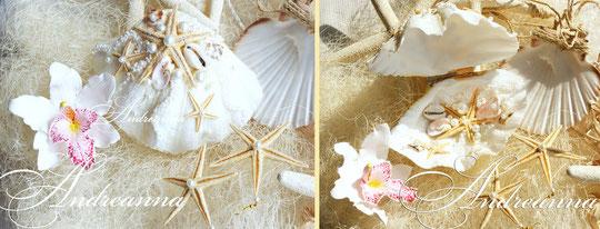 шкатулка-ракушка для колечек с белым вкраплением. Полностью ручная работа, натуральные раковины. Стоимость 800 грн (Без цветка)