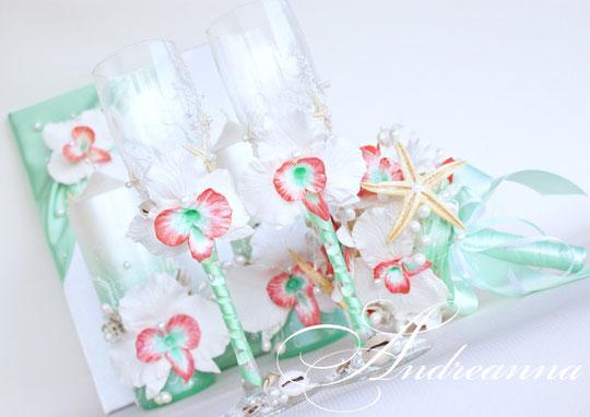 Свадебные бокалы «Грейпфрутовая орхидея». Стоимость 800грн.