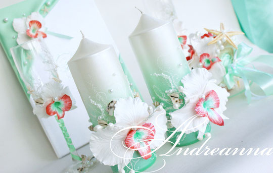 Свадебные свечи «Грейпфрутовая орхидея». Стоимость набора (1 толстая и 2 тонкие свечи) 650грн.