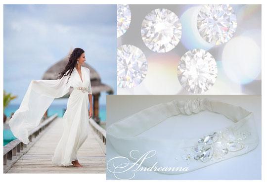Повязка для волос с камнями и стразами Swarovski, разработка под декор на платье, стоимость 550грн