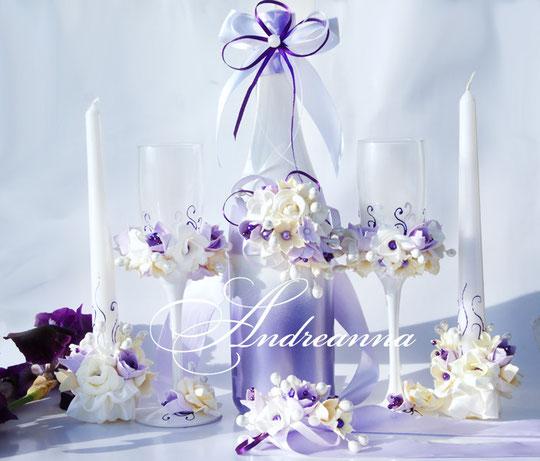 Съемная композиция, на шампанское  «Лиловая фрезия и гардения» стоимость 400грн (цветочные композиции ручной работы, без шампанского).