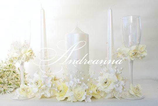 Свадебные свечи «Жемчужная фрезия и гардения», на перламутрово-жемчужном фоне, стоимость 650грн набор, (в любом оттенке).