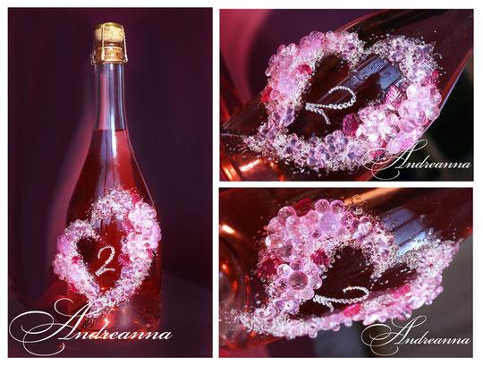 Шампанское «Капель любви», стоимость декора 750грн. (возможно нанесение монограммы, инициалов и др. желаемого текста).