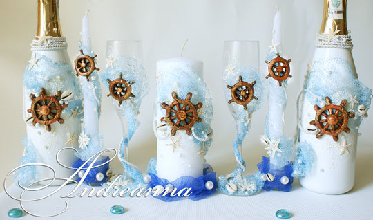 Свадебные свечи Остров сокровищ, стоимость 650 грн (штурвал ручной работы, также возможно использование спасательного круга, якорька и др. элементов).