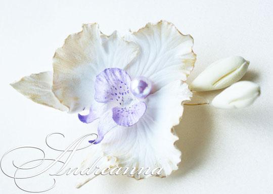 """Перламутрово-лиловая орхидея «фаленопсис"""", с бутончиками, на зажиме. примерно 8-9см. Стоимость 100грн"""